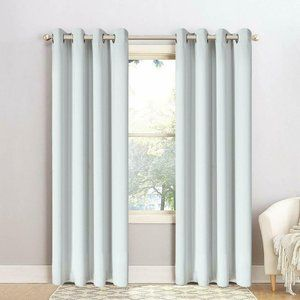 Set 2 Grommet Thermal Insulated Blackout Curtains